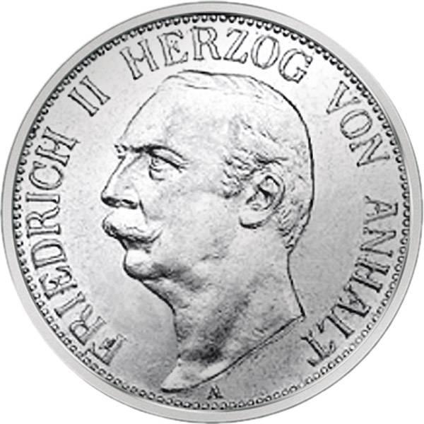 J.23 3 Mark Anhalt Großherzog Friedrich II. 1909-11 sehr schön-vorzüglich