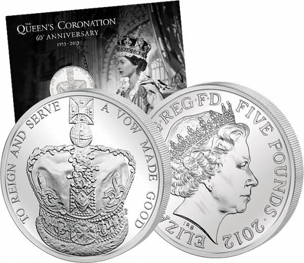 5 Pounds Großbritannien 60. Krönungsjubiläum Elizabeth II. 2013 Stempelglanz
