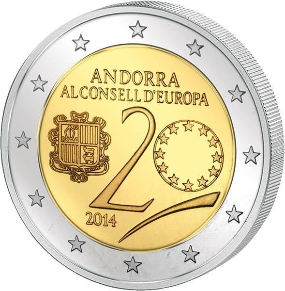 2 Euro Andorra 20. Jahrestag des Beitritts Andorras zum Europarat 2014  Polierte Platte (PP)