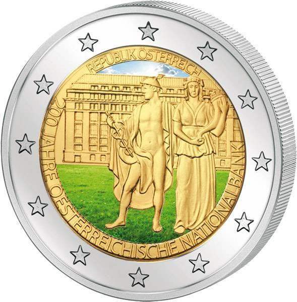 2 Euro Österreich mit Farb-Applikation 200 Jahre Nationalbank 2016 prägefrisch