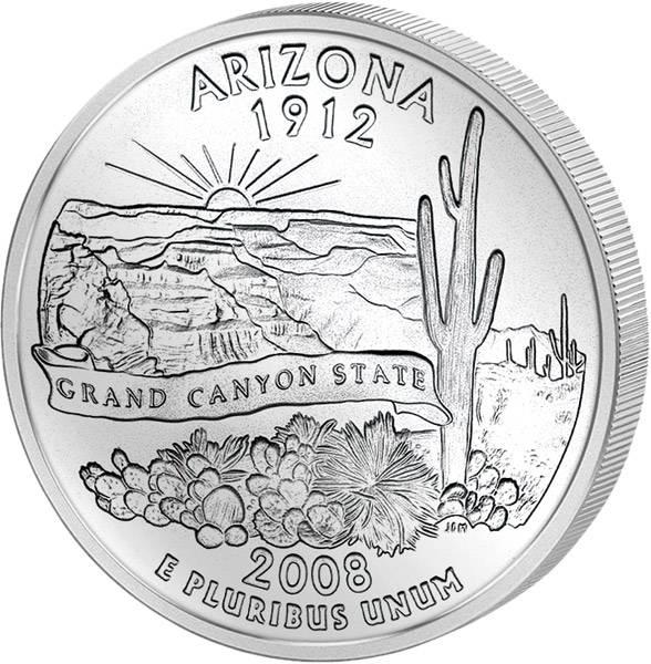 Quarter Dollar USA Arizona 2008