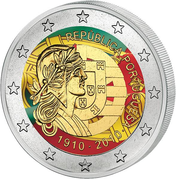 2 Euro Portugal 100 Jahre Portugiesische Republik mit Farb-Applikation 2010  prägefrisch