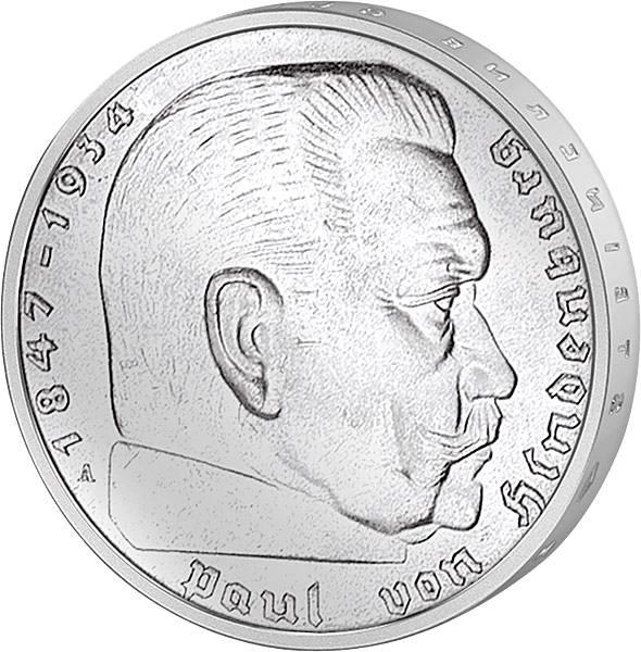 5 Reichsmark Hindenburg Adler 1935/1936   sehr schön