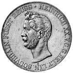 Taler Doppeltaler Heinrich XX. 1848 Vorzüglich