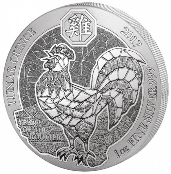 1 Unze Silber Ruanda Jahr des Hahns 2017