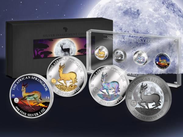 Silver Investment Coin Prestige-Set Springbock 2014  Stempelglanz