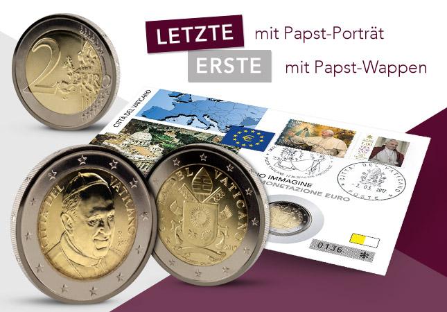 Treffen Der Päpste 2014 St 2 X 2 Euro Numisbrief Vatikan Gedenkmünzen Nach Euro-einführung