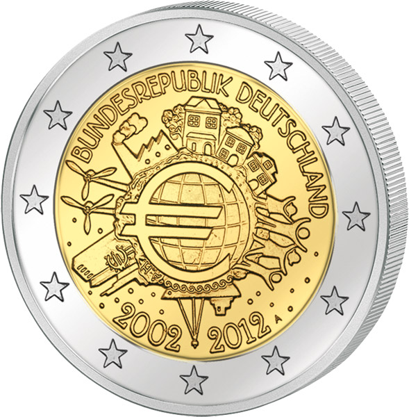 2 Euro 10 Jahre Euro Gemeinschaftsausgabe Aller Länder 2012